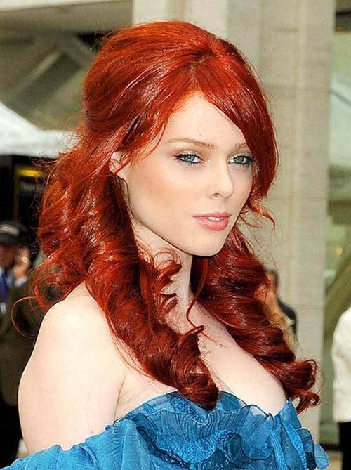 Coco Rocha long amber reddish hairstyle