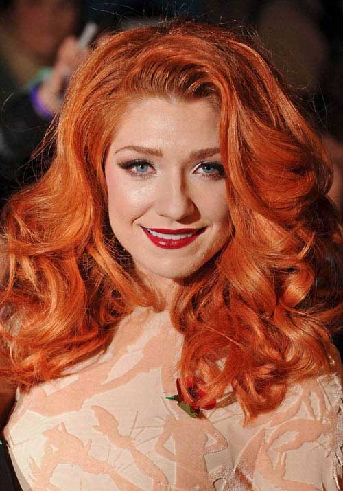 Nicola Roberts with carrot henna hair color