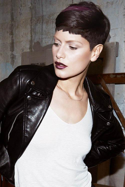 short black pixie with burgundy hair color hair blocking