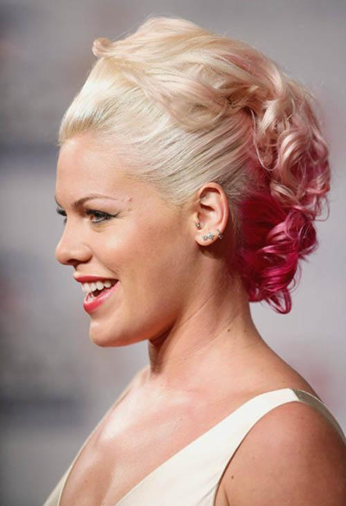 Pink with platinum color updo and red strawberry strands