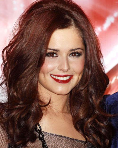 Cheryl Cole with volume brown red hairstyle