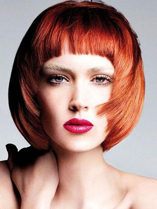 Medium round bob with short bangs