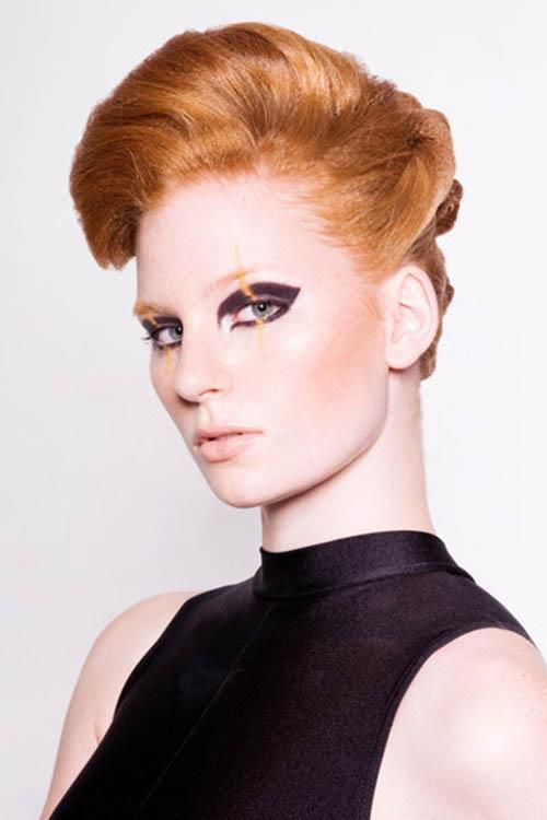 Light ginger hair color with updo