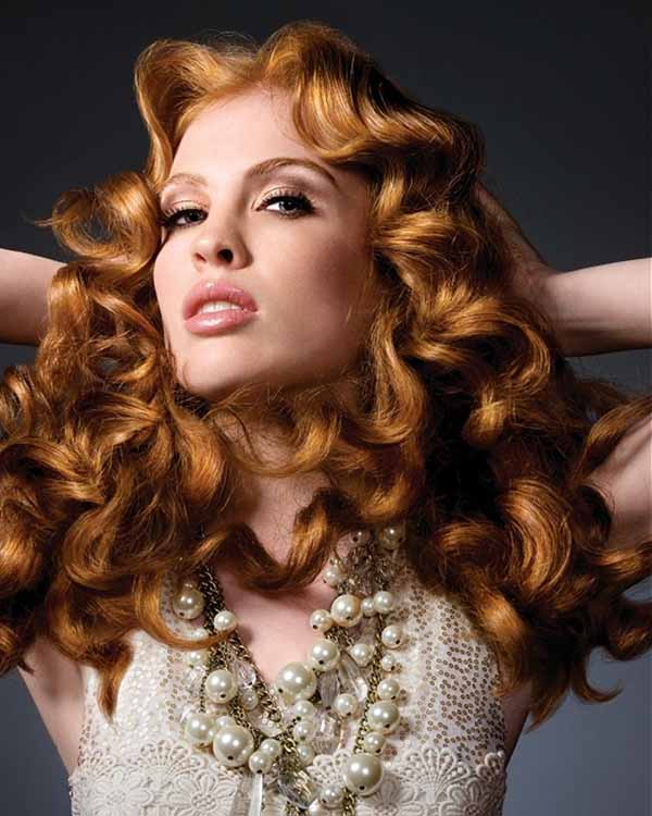 Ginger curly big hairstyle