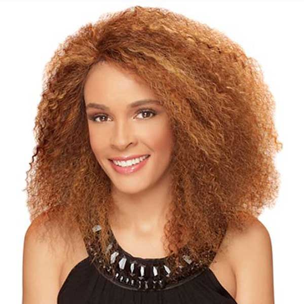Copper curly hairstyle for African American women