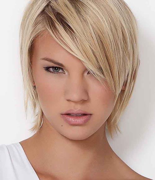 Short bob with thin hair and side swept bangs