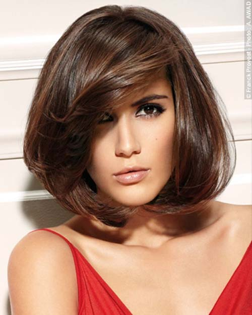 Dark brown hairstyle with volume bob haircut