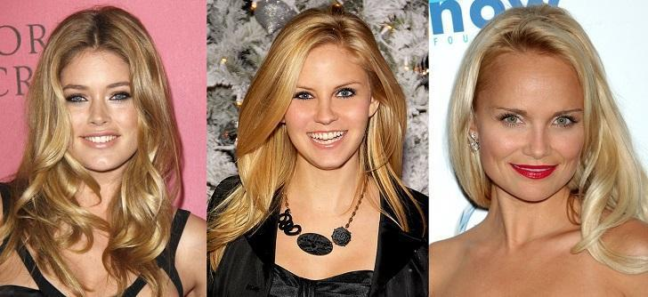 Doutzen Kroes, Nikki Griffin, Nicolette Sheridan Blonde hair colors, comparing hair colors