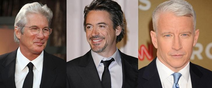 Richard Gere, Robert Downey Jr, Cooper Anderson Men's distinctive gray hair colors