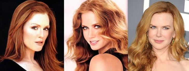 Julianne Moore, Amy Adams, Nicole Kidman Red hair colors